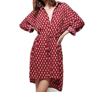 Free People Crepe Belted Tunic Shirtdress Duster